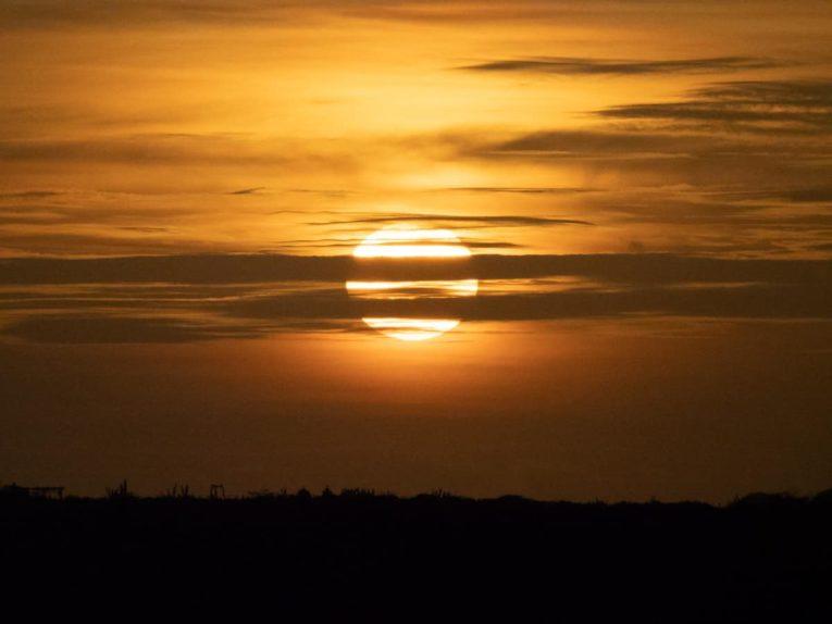 Lever de soleil sur Punta Gallinas dans le désert de la Guajira en Colombie