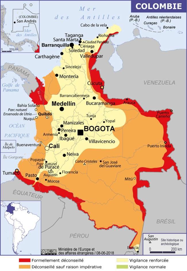 Carte de la sécurité en Colombie du ministère des affaires étrangères français