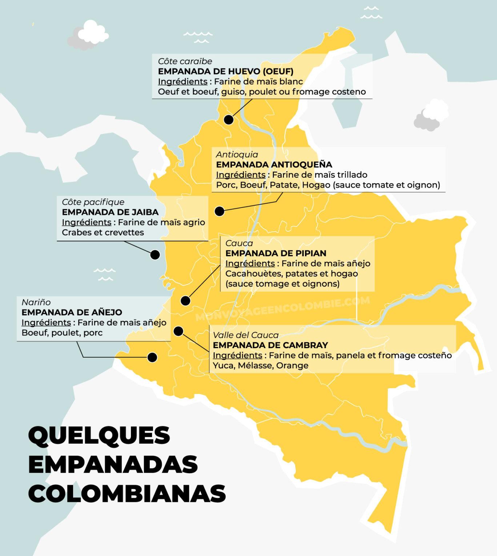 Carte des empanadas en Colombie