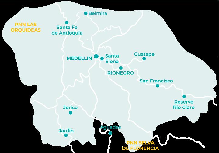 Carte des choses à faire aux alentours de Medellin
