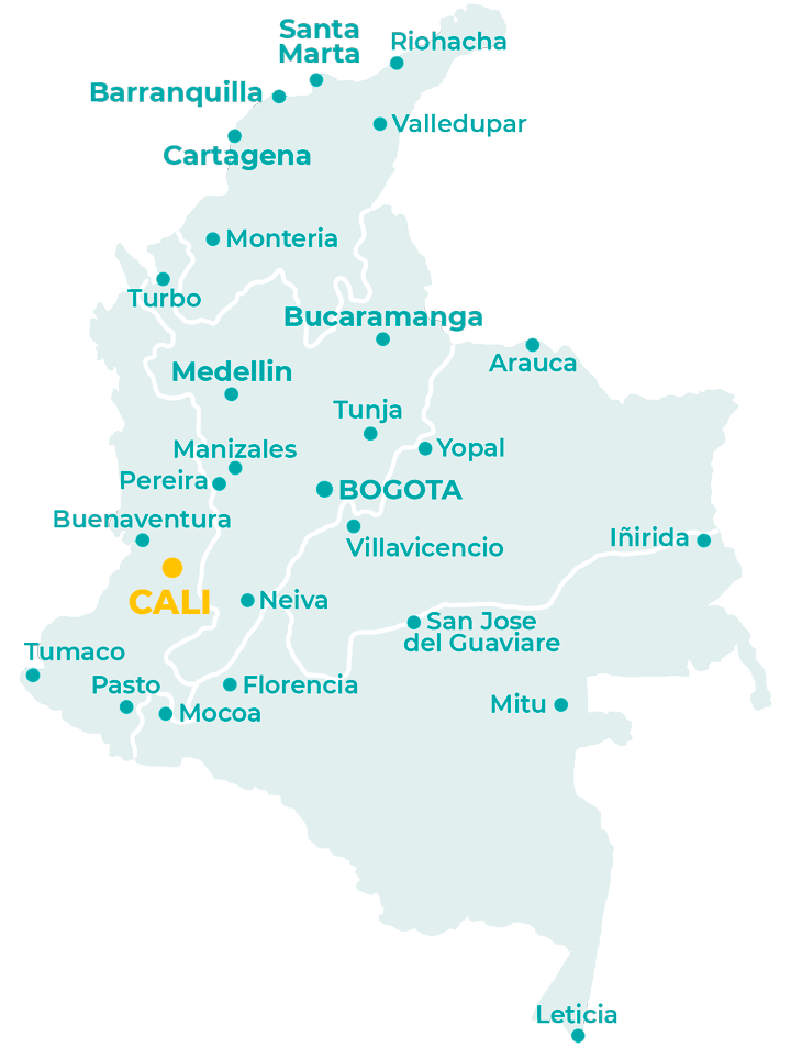 Carte de la Colombie avec Cali