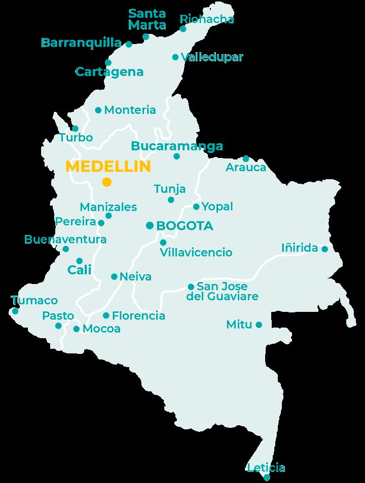Carte de Medellin en Colombie