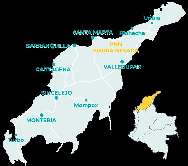 Carte de la région caraïbe en Colombie