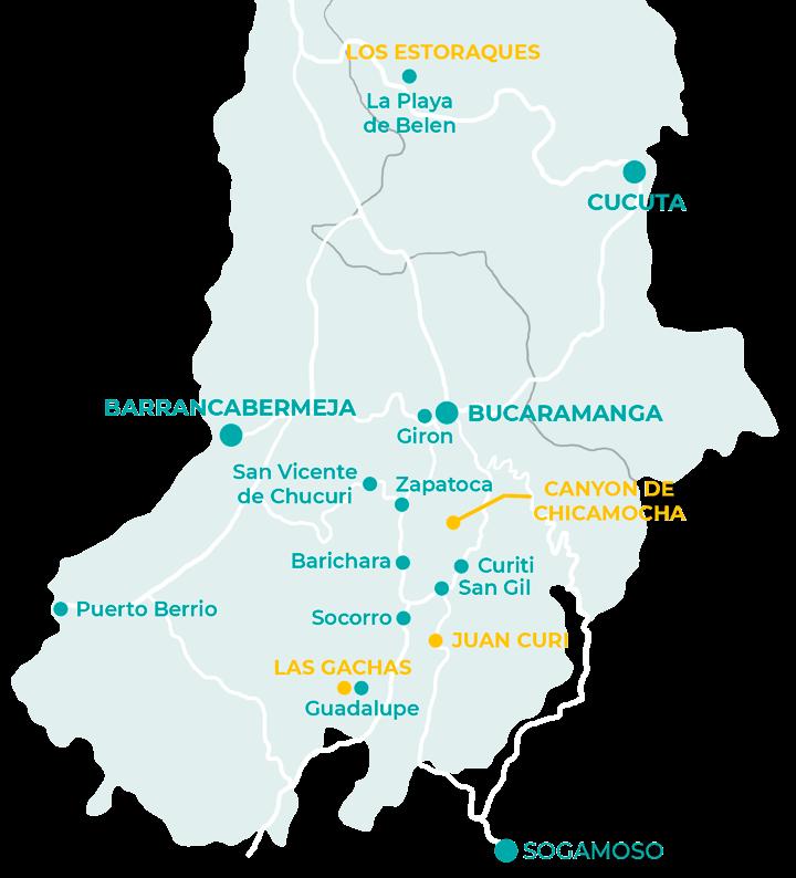 Carte des choses à faire dans le santander en Colombie